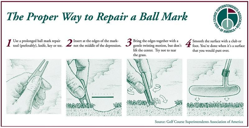 Proper Way to Repair a Ball Mark GCSAA